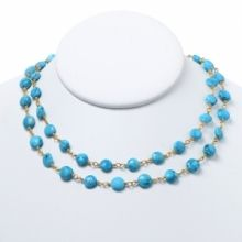 Faceted Turquoise Coin Necklace www.jewelya.com