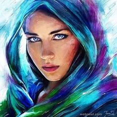 colorful woman painting by tanidm oil painting Colorful Paintings, Beautiful Paintings, Watercolor Portraits, Watercolor Paintings, Canvas Painting Designs, Pastel Portraits, Pencil Painting, Oil Paintings, Painted Ladies