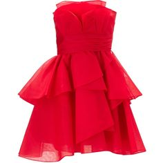 Ariella Skyla Silk Organza Ruffle Dress ($430) ❤ liked on Polyvore featuring dresses, party dress, robes, red, women, strapless cocktail dress, red dress, red body con dress, bodycon cocktail dress and short dresses