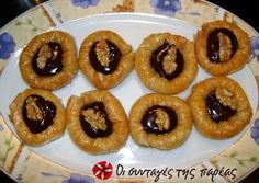 Chocolate nests with syrup Greek Sweets, Greek Desserts, Party Desserts, Greek Recipes, Dessert Recipes, Greek Cooking, Cooking Time, Chocolate Nests, Filo Pastry