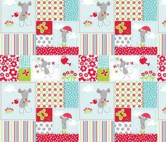 Milly Mouse Rain Patchwork - bzbdesigner - Spoonflower