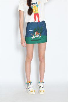 TYAKASHA така Ша Весна 2014 приключения серии: лес цифровая печать пакет бедра юбка - Taobao