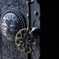 Brass Door Handle Curtea de Argeş Cathedral Manastirea Curtea de Arges 19th century reconstruction of 16th century church by French architect André Lecomte du Nouy