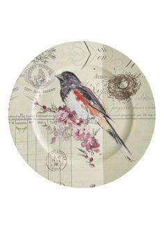 Decorative Bird Design Charger Plate