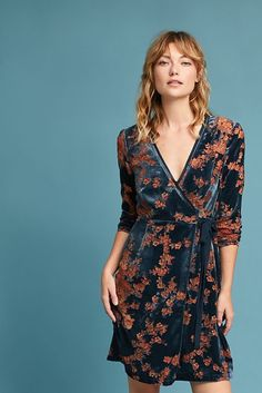 NEW Anthropologie Velvet Burnout Wrap Dress By Eri + Ali Size XS $158 NWT #Anthropologie #WrapDress