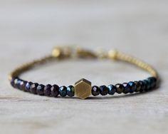 Brass hexagon bracelet: mystic black spinel beaded bracelet. Brass & beads collection.. $22.00, via Etsy. Obsessed!!!!!!