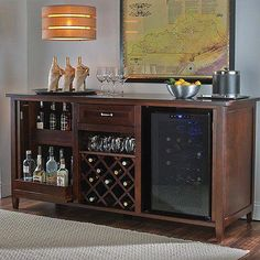 Wine Enthusiast Firenze Wine and Spirits Credenza with 28 Bottle Touchscreen Wine Refrigerator An Italian credenza of exceptional beauty, our exclusive wine and spirits bar is fashioned by master cabi Decor, Wine Storage, Cabinet, Bar Furniture, Bars For Home, Wine Refrigerator, Home Decor, Wine Credenza, Wine Cabinets