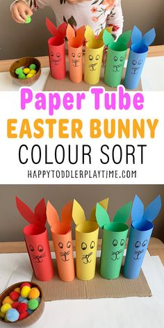 Paper Tube Easter Bunny Colour Sort for Toddlers - HAPPY TODDLER PLAYTIME Gross Motor Activities, Children Activities, Spring Activities, Therapy Activities, Preschool Activities, Easy Easter Crafts, Easter Ideas, Crafts For Kids, Preschool Christmas