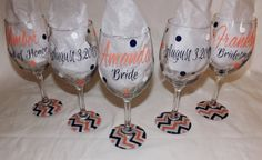 Set of 6 Personalized Bridesmaid wine glasses. Coral,navy and white wedding glasses,chevron bottom on Etsy, $66.00