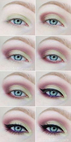 Use the perfect make-up in spring eye makeup for the spring Eye Makeup Steps, Eye Makeup Art, Colorful Eye Makeup, Cute Makeup, Makeup Meme, Makeup App, Makeup 2018, Fairy Makeup, Green Makeup