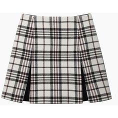 Carven Tartan Wool Mini (€225) ❤ liked on Polyvore featuring skirts, mini skirts, bottoms, saias, faldas, pleated mini skirt, wool pleated skirt, short plaid mini skirt, tartan mini skirt and box pleat skirt
