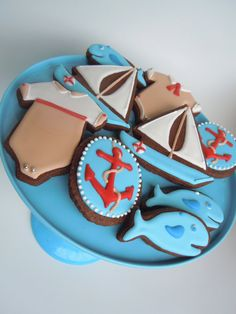 Nautical Baby Shower Cookie Set by BambellaCookies on Etsy, $42.00