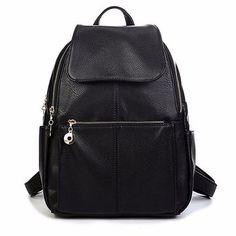 Women Casual PU Leather Black Shoulder Bag School Bag Backpack