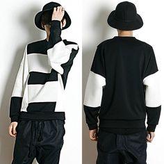 Remember Click Stripe Front Cotton Pullover Sweater BLACK&WHITE ONE SIZE Korean #RememberClick #Crewneck