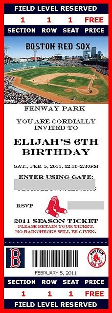 Baseball birthday invites