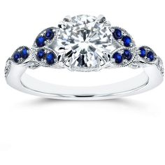 Annello by Kobelli 14k White Gold Moissanite Blue Sapphire and Diamond... (1,110 NZD) ❤ liked on Polyvore featuring jewelry, rings, white, white gold band ring, flower diamond ring, anniversary rings, 14k white gold ring and round diamond ring