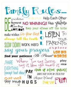 """Free """"Family Rules"""" printable cute print for the playroom The Words, Family Rules Printable, Family Rules Sign, Family Quotes, Me Quotes, Kinky Quotes, Renz, House Rules, Subway Art"""