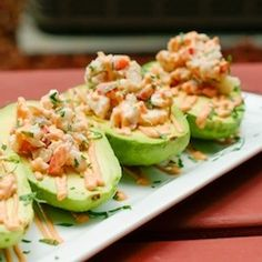 Avocados stuffed with crab meat and shrimp salad