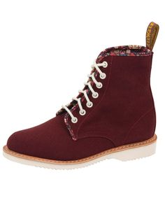 Red Canvas 7 Eye Evan Boots, Dr. Martens