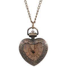 Ladies Pendant Watch Antique Brass Heart ($20) ❤ liked on Polyvore featuring jewelry, necklaces, accessories, collares, joias, heart shaped pendant, collar jewelry, heart jewelry, collar necklace and heart shaped necklace