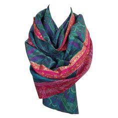 Aqua and Cherry Kantha Scarf - Artisan Made in India  http://www.farandwidecollective.com/collections/kantha-scarves/products/indian-scarf-aqua-and-cherry-kantha