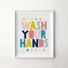 Printable Nursery Art Wash Your Hands Bathroom by ILovePrintable
