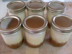 Crock pot Cheesecake in a Pint Jar.... I LOVE this!  Then provide toppings for each person to customize their flavor cheesecake!