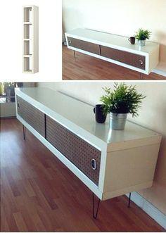 Ikea Lack shelf   -->   retro media table.