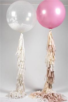 """Mr & Mrs Unique :: Bubblegum Balloons :: Giant balloons with handmade tassel tails, great for weddings and parties; we also send clear 20"""" bubble balloons filled with confetti with handmade tails and a personal message attached."""