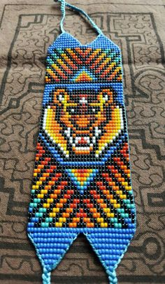 Items similar to Tiger of Protection Thick Bracelet - 31 bead (Colombia) on Etsy Collar Indio, Art Perle, Beaded Necklace, Beaded Bracelets, Beading Tutorials, Loom Beading, Bead Art, Jewelry Art, Crochet Projects