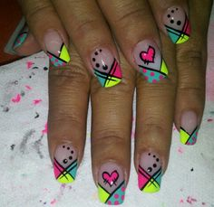 Unas Cute Nails, Pretty Nails, Hair And Nails, My Nails, Purple Nail Art, Nails For Kids, Manicure Y Pedicure, French Tip Nails, Neon Nails