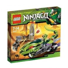 "LEGO Ninjago Lashas Bite Cycle by LEGO. $34.52. Features flick missiles and whipping tail     Weapons include Venomari fang blade with green anti-venom capsule, golden weapon and 5 regular weapons     Includes blacksmith forge     Blacksmith forge measures over 15"" (6cm) long, 2"" (5cm) wide and 3"" (8cm) tall     Whip the Bite Cycle's tail.. At the blacksmith shop, Cole is examining one of the long-lost fang blades, when suddenly Lasha, a Venomari tribe scout, zooms by on h..."