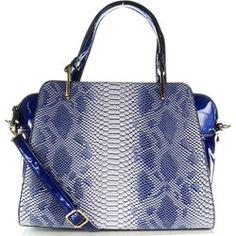DAVID JONES CM2605 niebieska torebka z lakierowanej skóry ekologicznej