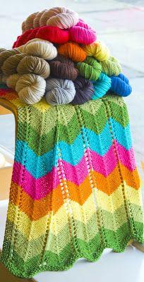 Inspirasjon Til Håndarbeide!: Gratis oppskrift på strikket Zig-Zag-teppe.