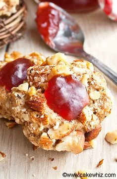 These easy sweet, salty, crunchy PEANUT BUTTER AND JELLY THUMBPRINT COOKIES have all the flavors of your favorite classic sandwich in cookie form. These peanut butter jelly cookies are great as a snack or homemade gift. From cakewhiz.com