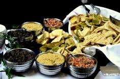 Grilled Tuscan, Pita and Focaccia Breads with Humus, Olivada and Tomato Basil Spreads