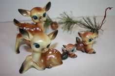 Vintage Celluloid Deer Family for Christmas. via Etsy.