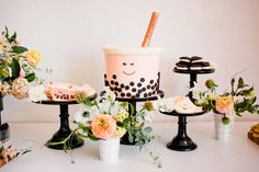 Boba Baby Shower featured on 100 Layer Cakelet – Oh Shiny Paper Co Tea Party Theme, Tea Party Birthday, Baby Birthday, Birthday Party Themes, Birthday Ideas, Boba Bar, Almond Cookies, Cute Cookies, Tea Cakes