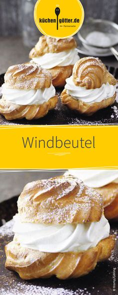 Extra-sahnige Windbeutel - New Site German Bakery, Apple Cider Donuts, Choux Pastry, Cake & Co, Eclairs, Profiteroles, Cakes And More, Marshmallows, Sweet Recipes