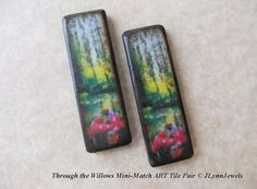 "Lil' Sis MINI-MATCH shown in pairs for jewelry making!  Exclusive JLynn original Art ""Through the Willows"" Garden Tulips Mini-Match ART Tile Pendant Charm Pair"