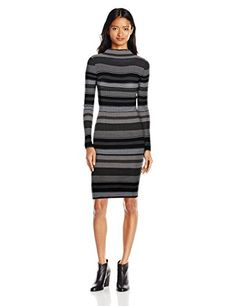 Derek Heart Juniors Funnel Neck Long Sleeve Stripe Midi Sweater Dress - http://www.darrenblogs.com/2016/11/derek-heart-juniors-funnel-neck-long-sleeve-stripe-midi-sweater-dress/