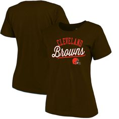 Cleveland Browns NFL Pro Line Women's Simplicity Relaxed T-Shirt - Brown
