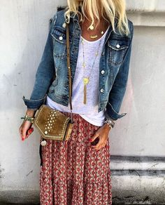 Boho-Stil Lässiger Chic Denim Design - Dieses Outfit hat alles ღ Stylish . Cute Casual Outfits, Outfits With Hats, Mode Outfits, Stylish Outfits, Dress Casual, Fall Outfits, Boho Dress, Casual Shoes, Casual Jeans