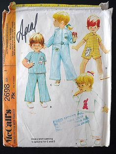 Vintage Sewing Pattern Unisex Toddlers 70's by Freshandswanky, $4.00