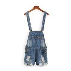SheIn(sheinside) Distressed Rolled Hem Overall Denim Shorts ($15) ❤ liked on Polyvore featuring shorts, blue, denim bib overalls, denim shorts overalls, destroyed denim shorts, blue shorts and ripped jean shorts
