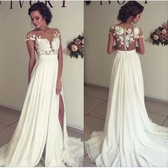 029cd8f08a7 2016 Summer Chiffon Wedding Dresses Lace Top Short Sleeves Side Slit Garden  Elegant Bridal Gowns White