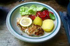 Kabeljau,Tomatensalat,Gurkensalat,Salzkartoffeln,pescetarisch