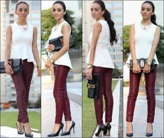 How to wear Legging with Peplum top 09