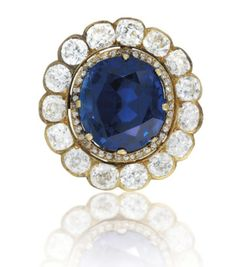 A Late 19th Century Sapphire and Diamond Pendant