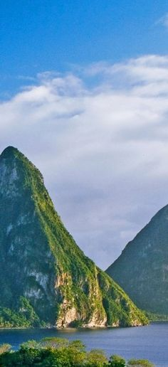 A perfect view of the twin #Pitons from Jade Mountain in St. Lucia. #travel